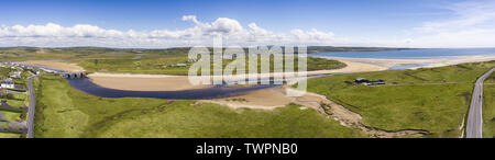 scenic aerial birds eye panoramic irish landscape from lahinch lehinch in county clare, ireland. beautiful lahinch beach and golf course - Stock Image