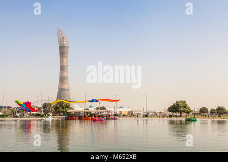 Aspire Park with The Torch in background - Stock Image