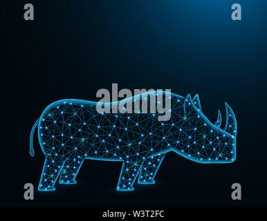 Rhinoceros low poly model, African animal abstract graphics, solitary mammals polygonal wireframe vector illustration on dark blue background - Stock Image