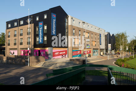 Travelodge, and retail outlets at Riverside, Thetford. Unsharpened - Stock Image