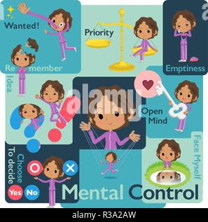 A set of women in sportswear who control emotions.A variety of image illustrations expressing self emotion.It's vector art so it's easy to edit. - Stock Image