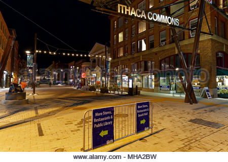 Night view of Ithaca Commons, Ithaca, New York, USA - Stock Image