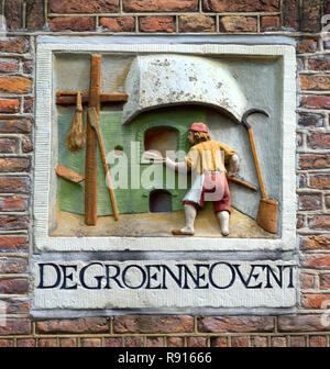 Facing brick of an old bakery from the 17th century Amsterdam, The Netherlands, Dutch, - Stock Image