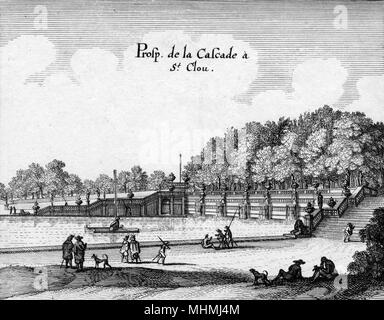 The cascade and basin in the park of the palace at Saint- Cloud, outskirts of Paris      Date: 17th century - Stock Image
