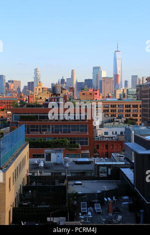 Rooftop view of  Lower Manhattan and Financial District skyline, Meatpacking District, Manhattan on JULY 7th, 2017 in New York, USA. - Stock Image