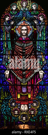 Christ the Redeemer window, St. Oswald & St. Edmund Church, Ashton-in-Makerfield, Greater Manchester, UK - Stock Image