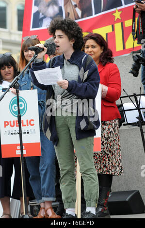London, UK. 1st May, 2019. Climate change youth striker Noga Levy-Rapoport speaks. Mayday rally in Trafalgar Square. Credit: JOHNNY ARMSTEAD/Alamy Live News - Stock Image