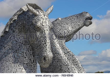 The Kelpies in the Helix Park, near the Forth & Clyde canal entrance in Falkirk on the East coast of Scotland. - Stock Image