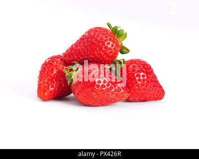 a pile of strawberrys on a white background - Stock Image