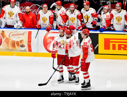 Bratislava, Slovakia. 19th May, 2019. Russian players celebrate Nikita Kucherov's (centre) goal in action during the match between Switzerland and Russia within the 2019 IIHF World Championship in Bratislava, Slovakia, on May 19, 2019. Credit: Vit Simanek/CTK Photo/Alamy Live News - Stock Image