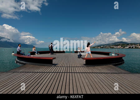 This Platform Sur Mer on Lake Geneva in Switzerland is in the town of Montreux and is right next to the statue of - Stock Image