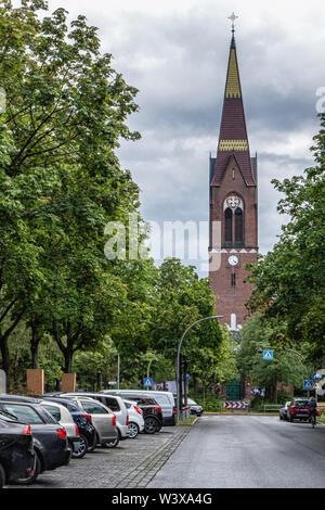 Petruskirche, Peter's Church is a Neo-Gothic listed building built 1897-1898 on Oberhofer Platz 2, Lichterfelde-Berlin - Stock Image