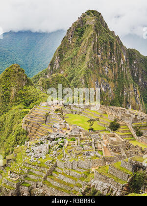 Views of the Machu Picchu and the Huayna Picchu mountain - Stock Image