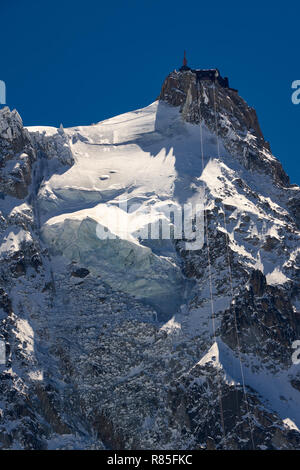 Aiguille du Midi needle. Mont Blanc mountain range, Chamonix, Haute-Savoie, Alps, France - Stock Image