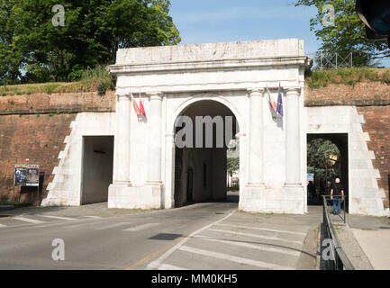 The Porta Elisa within the city walls of Lucca, Tuscany, Italy, Europe - Stock Image