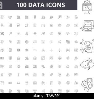 Data line icons, signs, vector set, outline illustration concept  - Stock Image