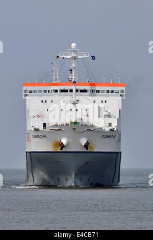RoRo-vessel Clementine inbound Cuxhaven - Stock Image