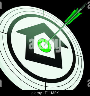 Bullseye House Target Means Aiming For Best Property Or Investment House. Home Buying Determination And Focus 3d Illustration - Stock Image