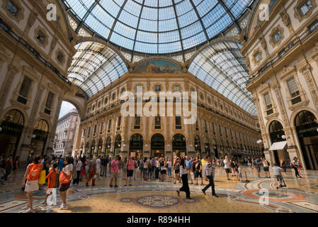 Horizontal view inside Galleria Vittorio Emanuele II in Milan, Italy. - Stock Image