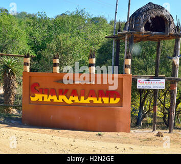 Entrance sign at the gates of Shakaland Cultural Village - Stock Image