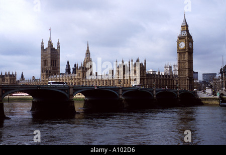Houses of Parliament and Big Ben London England - Stock Image