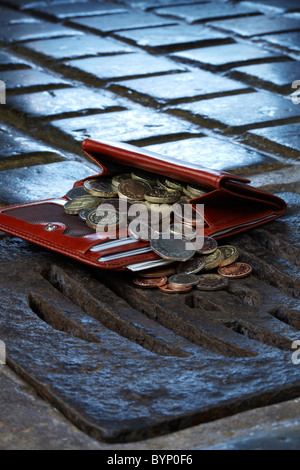 Purse of Money Falling down Drain - Stock Image