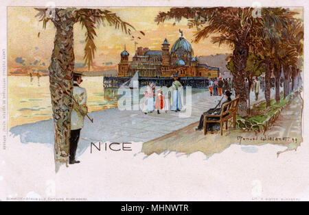 Seafront at Nice, France with view of the Palais de la Jetee.     Date: 1899 - Stock Image