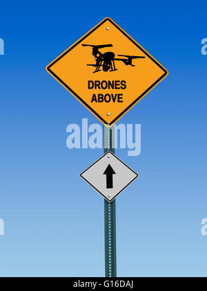 conceptual sign with drone symbol and  warning above over blue sky - Stock Image