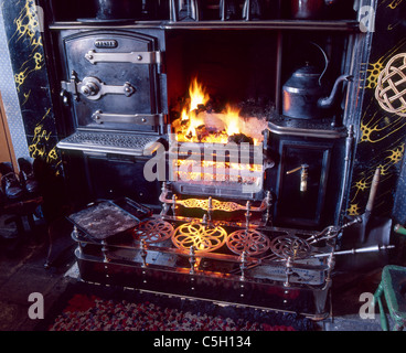 A cosy open fire at Beamish Museum, the Living Museum of the North East - Stock Image