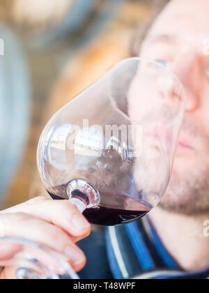 Young man tasting red wine in Setuabl wine region, Portugal. - Stock Image