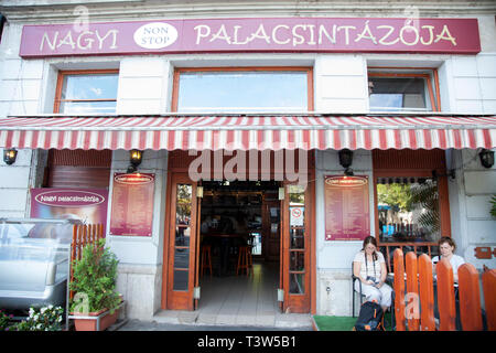 A traditional desert restaurant serving Hungarian crepes called palacsinta - Stock Image