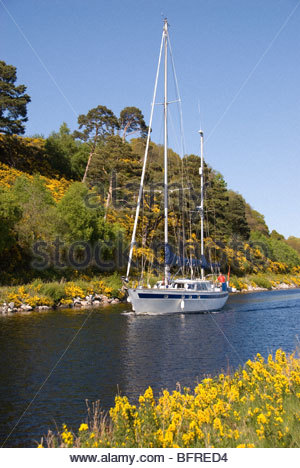Yacht cruising Caledonian Canal, Inverness, Scotland - Stock Image