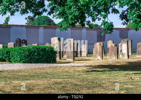 Tombstones in the old Jewish cemetery in the former fortress town in the eastern part of Jutland - Fredericia, Denmark. - Stock Image