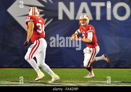 December 19, 2015. QB Joel Stave #2 of Wisconsin in action during the 2015 National Education Holiday Bowl between - Stock Image