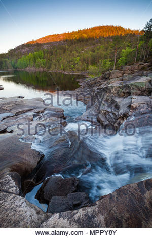 Spring evening in Nissedal, Telemark, Norway. - Stock Image