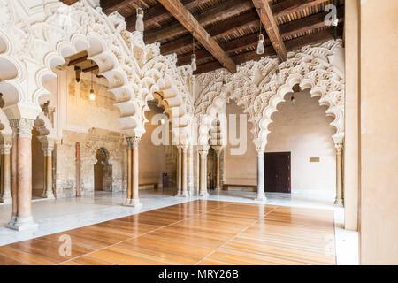 Interior view of Aljaferia palace. Zaragoza, Aragon, Spain, Europe - Stock Image