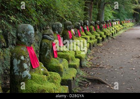 Jizo statues in Kanmangafuchi Abyss Nikko, Japan. - Stock Image