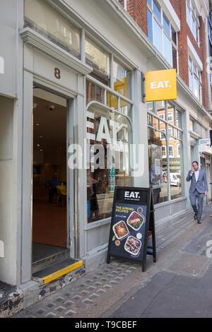 Exterior of Eat restaurant chain outlet in Soho, London, UK - Stock Image