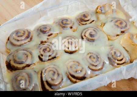 Freshly baked Cinnamon rolls buns - Stock Image