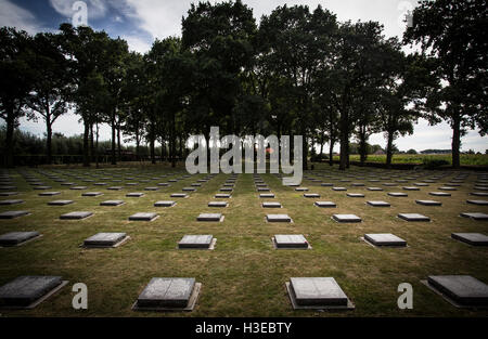 The cemetery and memorial graveyard to the German dead of WWI at Langemark, West Flanders, Belgium - Stock Image