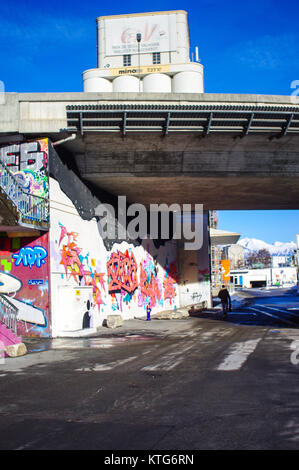 Sion, Switzerland, 23rd Dec 2017.  Graffiti wall under bridge. - Stock Image