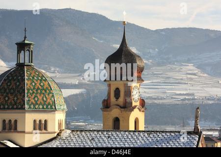 The Italian alp village Mezzocorona in winter, Trentino, Italy. - Stock Image