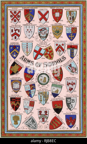 Coats of Arms for Schools and Colleges, including Oxford and Cambridge, public schools and grammar schools. - Stock Image