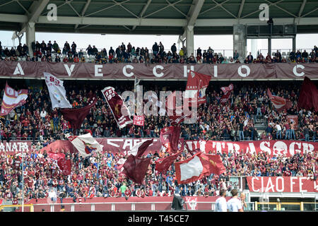 Turin, Italy. 14th Apr, 2019. Turin,  Italy. 14th Apr 2019.  Serie A football, Torino versus Cagliari; The supporters of Torino Credit: Action Plus Sports Images/Alamy Live News Credit: Action Plus Sports Images/Alamy Live News - Stock Image