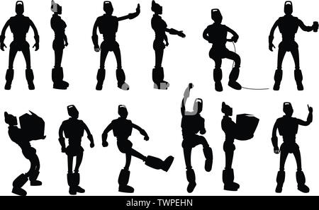 robot silhouettes set in different poses - Stock Image