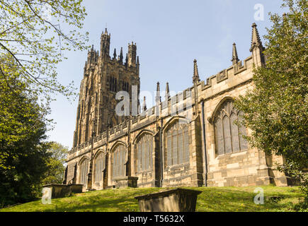 Saint Giles church in Wrexham built in 1506 it is the largest medieval parish church in Wales and described as one of the seven wonders of Wales - Stock Image