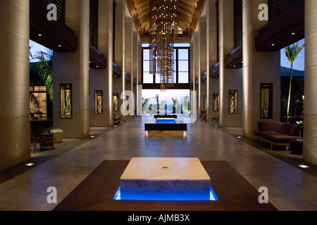 The Cove Atlantis lobby at sunset Paradise Island Nassau Bahamas - Stock Image