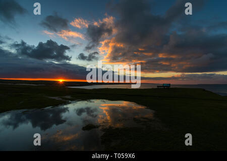 Sunset from the Ness of Duncansby, near John o' Groats, Caithness, Scotland, UK - Stock Image