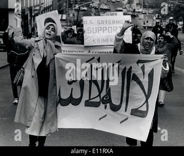 Oct 27, 1979; New York, NY, USA; Pro Khonmeni Iranians demonstrate against the Shah. They were protesting that the United States has allowed him to enter the country for treatment of cancer at a New York Hospital.. (Credit Image: KEYSTONE Pictures USA/ZUMAPRESS.com) - Stock Image