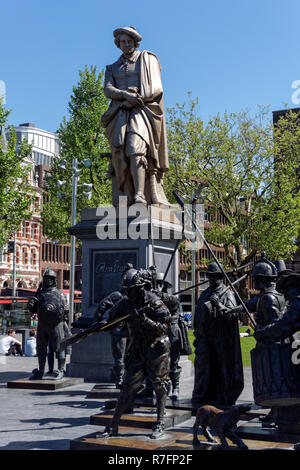 Rembrandt Monument in Amsterdam, Netherlands - Stock Image